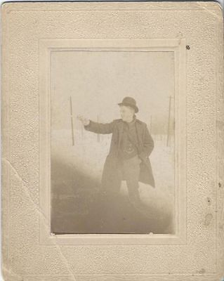 Original 1920S Photograph Of Man In Bowler Hat Shooting A Handgun While Smiling