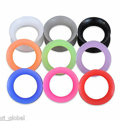 Pair Thin Silicone Flexible Ear Skin Tunnels Plugs Gauge Earlets Earskin Hollow