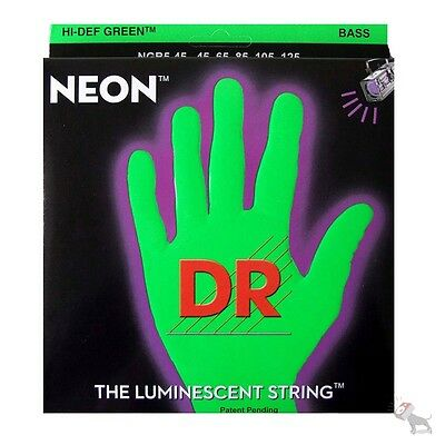 DR NGB5-45 HiDef Neon Green Coated Medium 5-String Bass Strings (45-125)