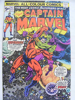 Captain Marvel # 43 Pence Variant Bronze Age Issue The Destroyer