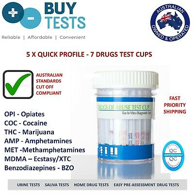 Urine Drug Test Cup for 7 Drugs (x5) Includes drugs listed in Australian stds.