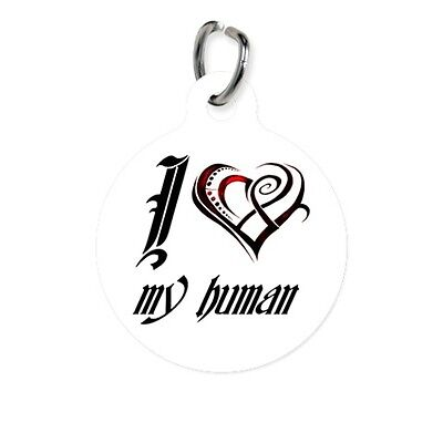 Pet ID Name Tag I HEART MY HUMAN Personalised Custom DOG CAT Name Tag