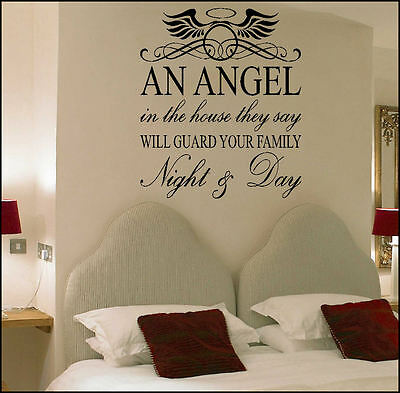 Large Quote Angel In House Guard Family Night  Wall Art Sticker Transfer Decal