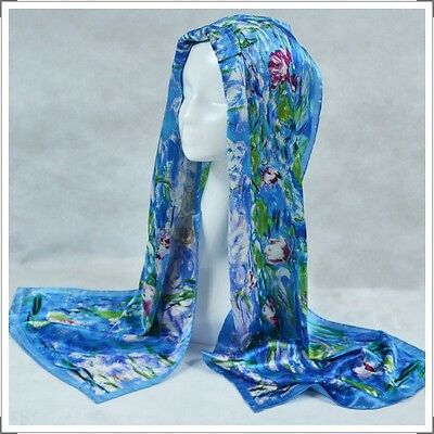 "Oblong 100% Charmeuse Silk Scarf Shawl Wrap Art Claude Monet's ""Water Lilies"""
