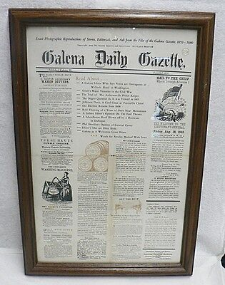 Lot Of Two Newspaper Reproductions From 1859-1880 Galena Daily Gazette