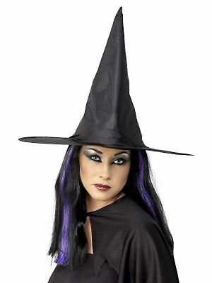Adult Ladies Black Witch Fancy Dress Costume Accessory Halloween Witches Hat 447