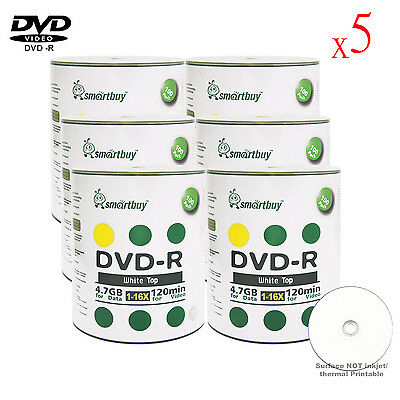 3000 Pack Smartbuy White Top Surface Blank DVD-R DVDR 16X 4.7GB Recordable Disc