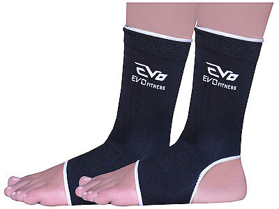 Evo Fitness Elasticated Anklet Support Guards Kick Boxing,MMA Martial Arts Pair