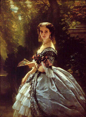 Oil painting beautiful young noblelady standing in landscape by Winterhalter