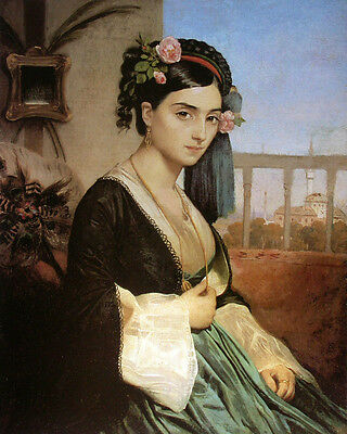 Oil painting charles gleyre - Oriental woman Wearing roses in landscape canvas