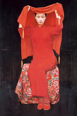 Oil painting portrait young beauty girl Chinese Bride Wearing festive red dress