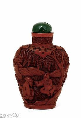 Old Chinese Cinnabar Lacquer Snuff Bottle w Figure