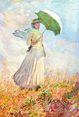 Art Oil painting Monet - Woman holding parasol in summer landscape on canvas