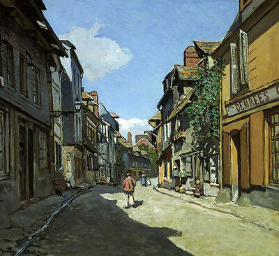 Art Oil painting Monet - Honfleur street landscape in the morning canvas