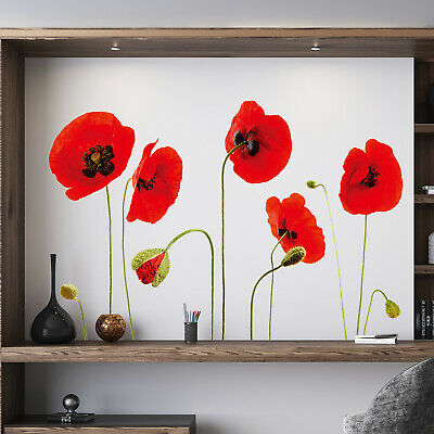 Red Poppy Flowers Decal Wall Stickers art Mural Children room (Reusable)