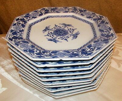 10 Antique Japanese Blue & White Porcelain Dishes Probably Arita Signed