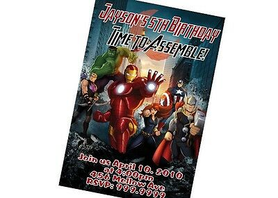Custom Personalized Avengers Birthday Invitation 24hr Service UPRINT 4x6 or 5x7