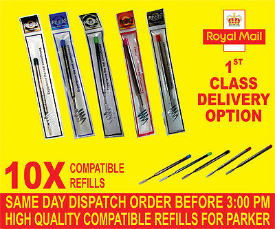 Qlity10 X Parker Compi Broad Refills For Ballpoint Med Black/Blue/Red/Green/Pink