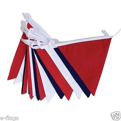 10 Metre France Blue White Red Triangle Flags Fabric Bunting