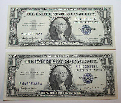 X Set of 2 Consecutively Serial Numbered 1957 B $1 Blue Seal Silver Cert Notes