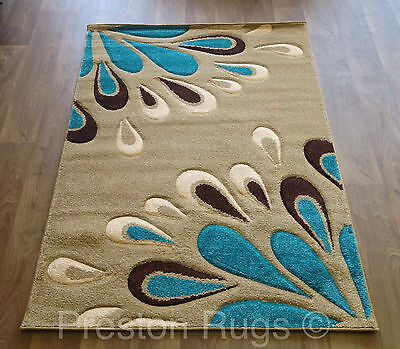 RUG MODERN FLORAL BEIGE TEAL BLUE BROWN SMALL MEDIUM LARGE - 4 SIZES AVAILABLE