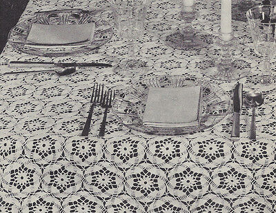 Vintage Crochet PATTERN to make Daisy Tablecloth Flower Motif DaisyTablecloth