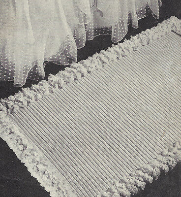 Vintage Crochet PATTERN to make Scatter Throw Rug Bath Mat Tufted Edging PlainRu