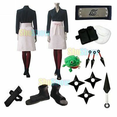 Brand New Naruto Shippuden Rin Cosplay Costume props halloween set Top dress