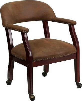 Bomber Jacket Brown Luxurious Conference Chair w/ Caters - Office Guest Lounge