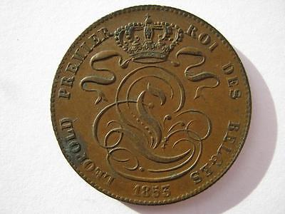 Belgium 1853 copper 5 Centimes, GVF, Scarce.