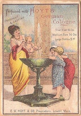 Victorian Trade Card-Hoyt's German Cologne-Lowell, MA-Baby in Fountain