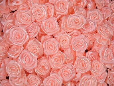 Ribbon Roses Satin Apricot 100pcs Flower Sewing Craft Floral FREE POSTAGE