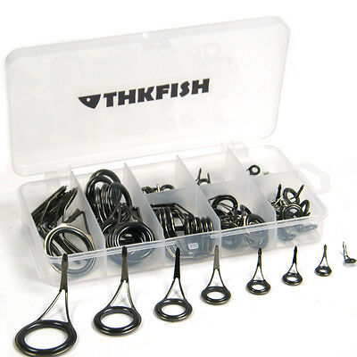 75X in Box Fishing Rod Guides Rod Tips Carbon Stainless Spinning Rod Guides