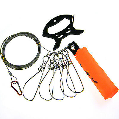 SALE! 5m 16inch Fishing Stringer Fish Lock 5 Snap Stainless Steel Ropes Float