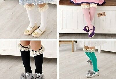 Toddlers Kids Girls Cotton Lace Bow Solid Color Soft Knee High Socks 2-8Y KHS003