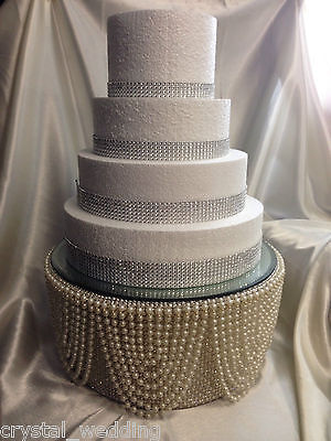 Pearl & diamante rhinestone finish Tall cake stand for wedding cake Gatsby style