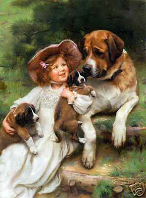 Stunning Oil painting nice young girl with her pets dogs in landscape canvas