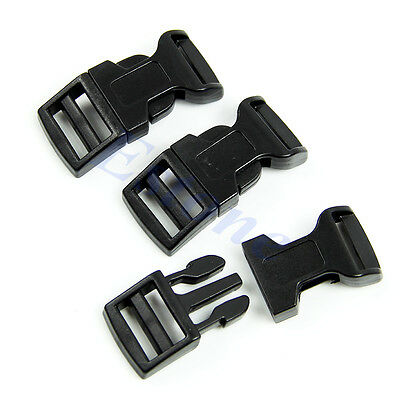 5Pcs New Black Curved Side Release Plastic Buckles For Paracord Bracelet