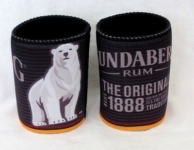 Set Of 2 Bundy Bundaberg Rum Polar Bear Logo Beer Can Stubby Coolers Holders