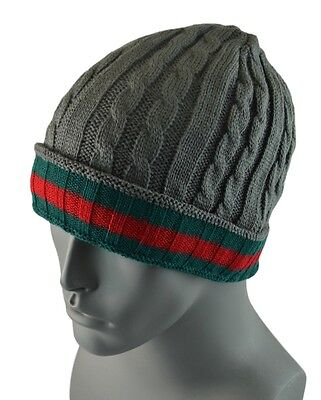 c357d67dca6 Winter Knit Twist Cable Short Beanie Hat Mens Ski Snow Board Skull Cap -  Gray