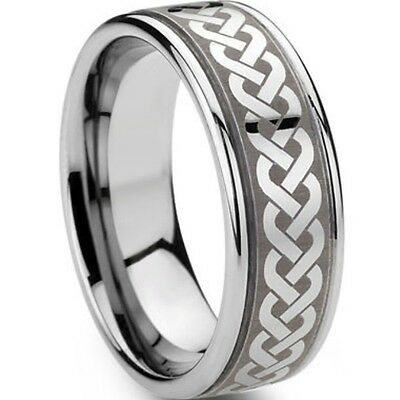 8MM Size 7-15 Stainless Steel Irish Celtic Ring Wedding Engagement Puzzle Dragon