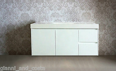 BATHROOM VANITY UNIT - 1200mm POLYURETHANE WALL HUNG WITH POLY MARBLE BASIN