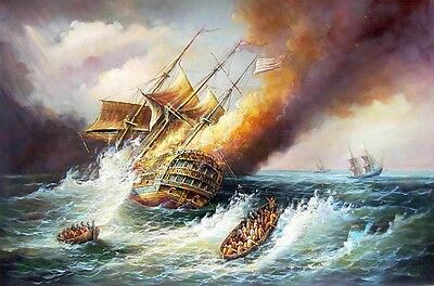 Art Oil painting seascape Burning huge sailboat on ocean with waves handpainted