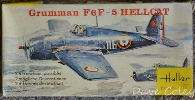 Rare Vintage Heller Model kit US Navy Grumman F6F - 5 Hellcat 152 1:72nd scale