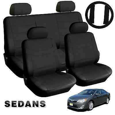 Simulated Leather Solid Black PU Leatherette Car Seat Covers 13pc Compact Sedans