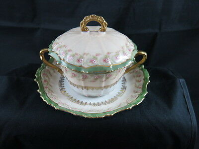Limoges Late Victorian Covered Bullion Cream Soup with Underplate Extremely Rare