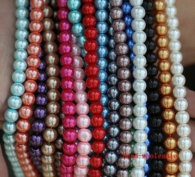 Wholesale Many Color Round Glass Pearl Spacer Bead 4mm/6mm/8mm/10mm For Craft