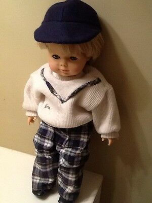 Vintage Preppy Gotz Doll With Sweater And plaid Pants Wearing A Baseball Cap