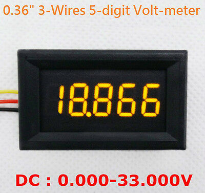 "4-1/2"" 4.5-Digit Volt meter Panel Counter Orange LED DC 0 to 33V 3-Wires Display"