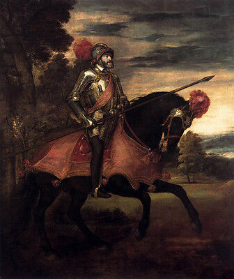 Huge art Oil painting Tiziano Vecellio - Emperor Charles V on horse in view